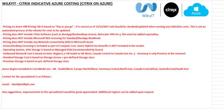 Cost Calculator spreadsheet for Citrix Cloud + Azure