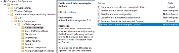 Citrix User Profile Manager Roaming OST & Search Index