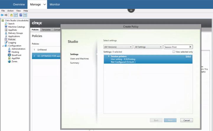 Citrix Cloud – Citrix Policies – Session Printing unavailable